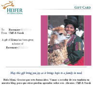 the Honor e-Card we sent her after completing the transaction