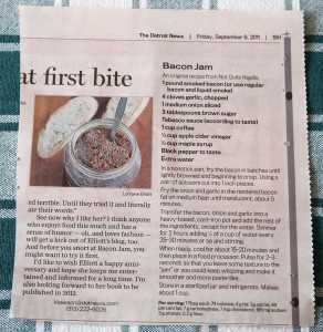 Not Quite Nigella's Bacon Jam recipe printed in the Detroit News