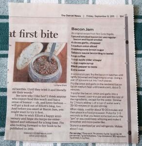 Not Quite Nigella's Bacon Jam recipe printed in the Detroit News